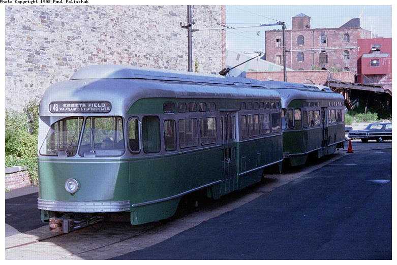 (87k, 781x522)<br><b>Country:</b> United States<br><b>City:</b> New York<br><b>System:</b> Brooklyn Trolley Museum <br><b>Car:</b> MBTA/BSRy PCC Post-War Picture Window (Pullman-Standard, 1951)  3321 <br><b>Photo by:</b> Paul Polischuk<br><b>Date:</b> 1998<br><b>Notes:</b> Both PCCs under restoration<br><b>Viewed (this week/total):</b> 0 / 4817