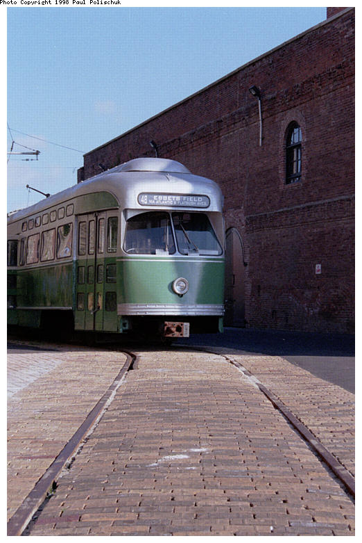 (82k, 522x781)<br><b>Country:</b> United States<br><b>City:</b> New York<br><b>System:</b> Brooklyn Trolley Museum <br><b>Car:</b> MBTA/BSRy PCC Post-War Picture Window (Pullman-Standard, 1951)  3321 <br><b>Photo by:</b> Paul Polischuk<br><b>Date:</b> 1998<br><b>Notes:</b> Front view of PCC 3321 with completed roadbed<br><b>Viewed (this week/total):</b> 4 / 2963