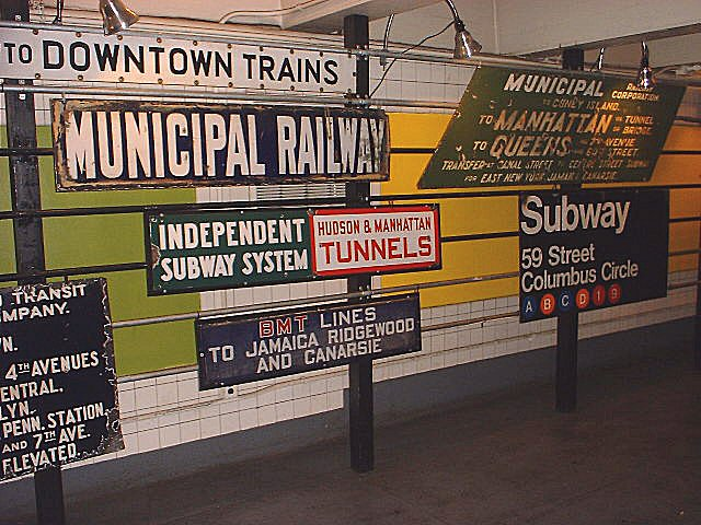 (97k, 640x480)<br><b>Country:</b> United States<br><b>City:</b> New York<br><b>System:</b> New York City Transit<br><b>Location:</b> New York Transit Museum<br><b>Photo by:</b> Peggy Darlington<br><b>Notes:</b> Signage Exhibit<br><b>Viewed (this week/total):</b> 1 / 8846