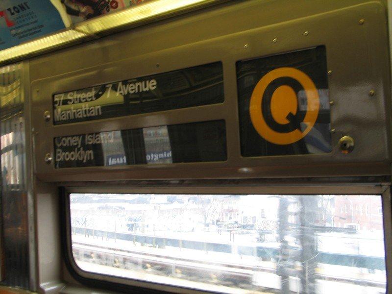 (73k, 800x600)<br><b>Country:</b> United States<br><b>City:</b> New York<br><b>System:</b> New York City Transit<br><b>Route:</b> Q<br><b>Car:</b> R-68 (Westinghouse-Amrail, 1986-1988)  2818 <br><b>Photo by:</b> Neil Feldman<br><b>Date:</b> 3/25/2005<br><b>Notes:</b> Original rollsigns from 1986.<br><b>Viewed (this week/total):</b> 2 / 4054