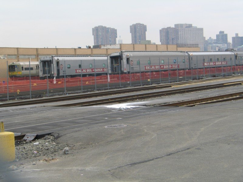 (88k, 800x600)<br><b>Country:</b> United States<br><b>City:</b> New York<br><b>System:</b> Long Island Rail Road<br><b>Line:</b> LIRR Long Island City<br><b>Location:</b> Long Island City <br><b>Car:</b> LIRR Budd M1 (EMU) 9726 <br><b>Photo by:</b> Neil Feldman<br><b>Date:</b> 3/25/2005<br><b>Notes:</b> With Ringling Brothers train.<br><b>Viewed (this week/total):</b> 1 / 4380