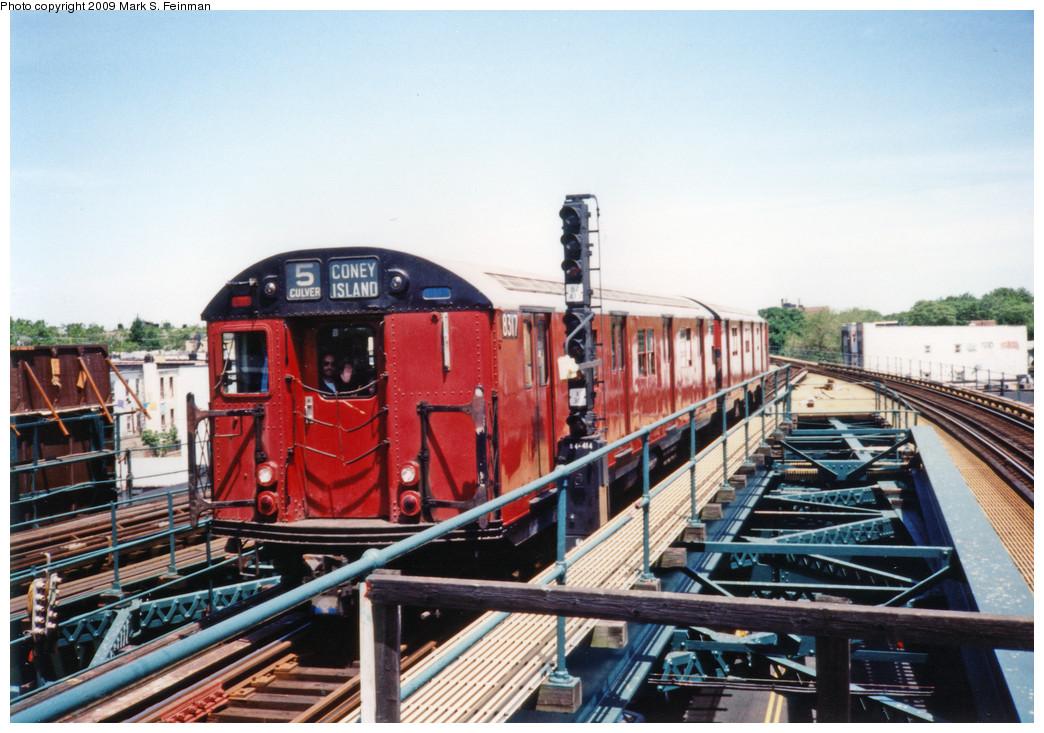(259k, 1044x733)<br><b>Country:</b> United States<br><b>City:</b> New York<br><b>System:</b> New York City Transit<br><b>Line:</b> BMT Culver Line<br><b>Location:</b> Kings Highway <br><b>Route:</b> Fan Trip<br><b>Car:</b> R-30 (St. Louis, 1961) 8317 <br><b>Photo by:</b> Mark S. Feinman<br><b>Date:</b> 5/30/1993<br><b>Viewed (this week/total):</b> 4 / 8142