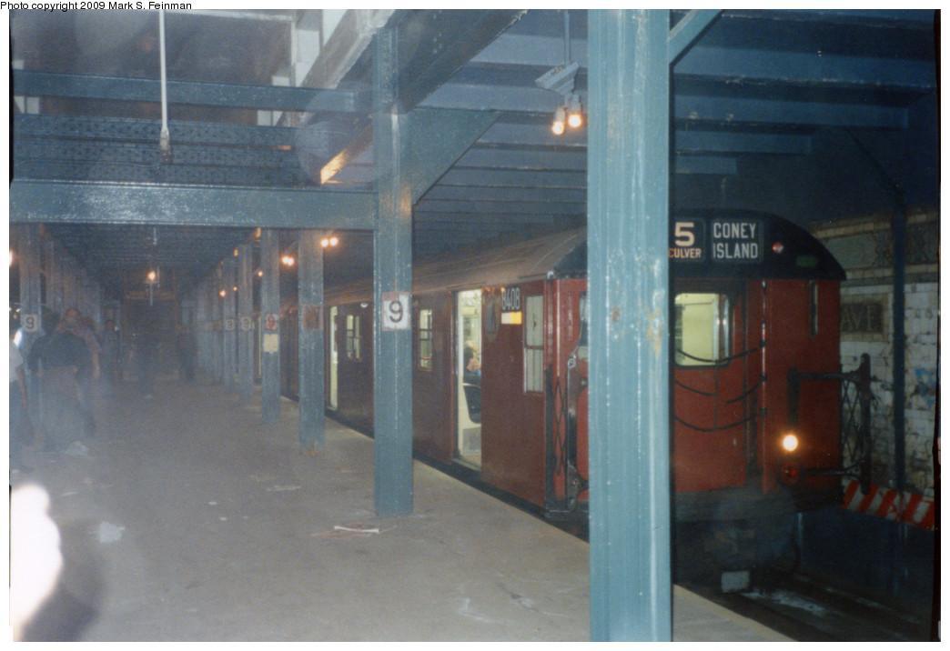 (195k, 1044x716)<br><b>Country:</b> United States<br><b>City:</b> New York<br><b>System:</b> New York City Transit<br><b>Line:</b> BMT Culver Line<br><b>Location:</b> 9th Avenue (Lower Level) <br><b>Route:</b> Fan Trip<br><b>Car:</b> R-30 (St. Louis, 1961) 8408 <br><b>Photo by:</b> Mark S. Feinman<br><b>Date:</b> 5/30/1993<br><b>Notes:</b> Another view of R30 train<br><b>Viewed (this week/total):</b> 0 / 5916