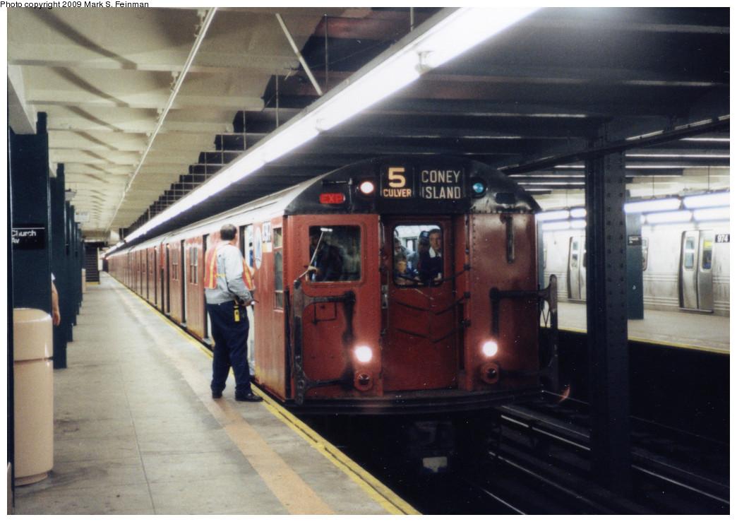 (212k, 1044x739)<br><b>Country:</b> United States<br><b>City:</b> New York<br><b>System:</b> New York City Transit<br><b>Line:</b> IND Crosstown Line<br><b>Location:</b> Church Avenue <br><b>Route:</b> Fan Trip<br><b>Car:</b> R-30 (St. Louis, 1961) 8317 <br><b>Photo by:</b> Mark S. Feinman<br><b>Date:</b> 5/30/1993<br><b>Viewed (this week/total):</b> 0 / 7976