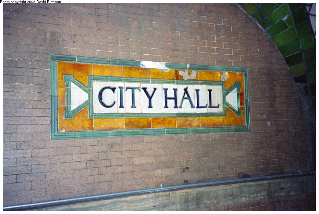 (237k, 1044x701)<br><b>Country:</b> United States<br><b>City:</b> New York<br><b>System:</b> New York City Transit<br><b>Line:</b> IRT East Side Line<br><b>Location:</b> City Hall <br><b>Photo by:</b> David Pirmann<br><b>Date:</b> 5/21/1995<br><b>Notes:</b> City Hall Station name sign on wall<br><b>Viewed (this week/total):</b> 0 / 4752