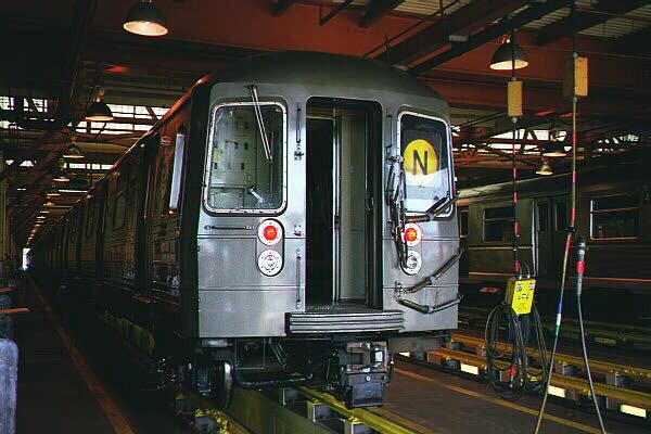 (107k, 600x400)<br><b>Country:</b> United States<br><b>City:</b> New York<br><b>System:</b> New York City Transit<br><b>Location:</b> Coney Island Shop/Maint. & Inspection Shop<br><b>Car:</b> R-68 (Westinghouse-Amrail, 1986-1988)   <br><b>Photo by:</b> Sidney Keyles<br><b>Date:</b> 5/22/1999<br><b>Viewed (this week/total):</b> 0 / 4953