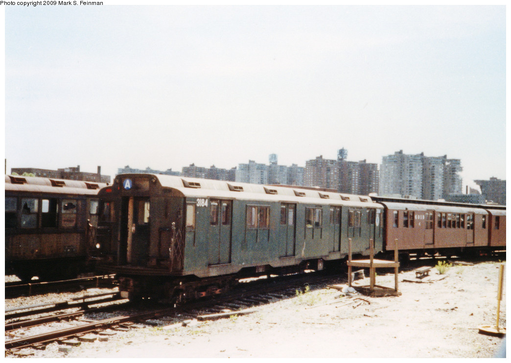 (195k, 1044x741)<br><b>Country:</b> United States<br><b>City:</b> New York<br><b>System:</b> New York City Transit<br><b>Location:</b> Coney Island Yard-Museum Yard<br><b>Car:</b> R-10 (American Car & Foundry, 1948) 3184 <br><b>Photo by:</b> Mark S. Feinman<br><b>Date:</b> 5/30/1993<br><b>Notes:</b> Museum fleet view<br><b>Viewed (this week/total):</b> 0 / 3930