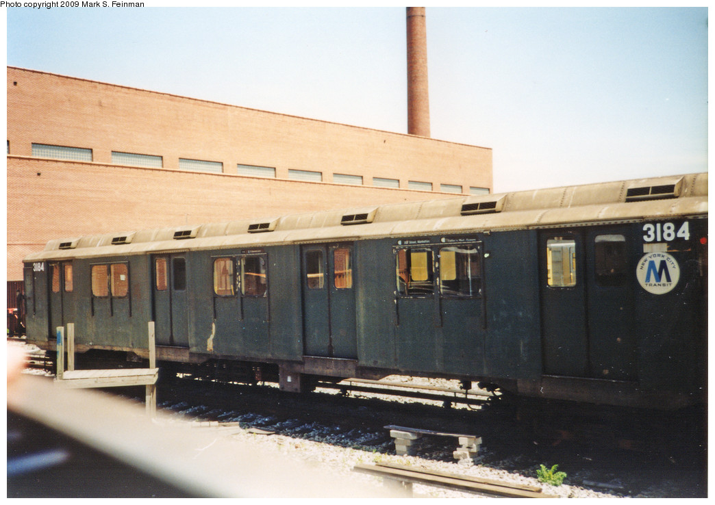 (206k, 1044x738)<br><b>Country:</b> United States<br><b>City:</b> New York<br><b>System:</b> New York City Transit<br><b>Location:</b> Coney Island Yard-Museum Yard<br><b>Car:</b> R-10 (American Car & Foundry, 1948) 3184 <br><b>Photo by:</b> Mark S. Feinman<br><b>Date:</b> 5/30/1993<br><b>Viewed (this week/total):</b> 3 / 3823