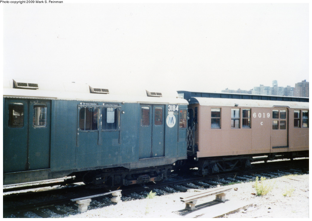 (166k, 1044x741)<br><b>Country:</b> United States<br><b>City:</b> New York<br><b>System:</b> New York City Transit<br><b>Location:</b> Coney Island Yard-Museum Yard<br><b>Car:</b> R-10 (American Car & Foundry, 1948) 3184 <br><b>Photo by:</b> Mark S. Feinman<br><b>Date:</b> 5/30/1993<br><b>Notes:</b> With D-Type 6019<br><b>Viewed (this week/total):</b> 3 / 3690