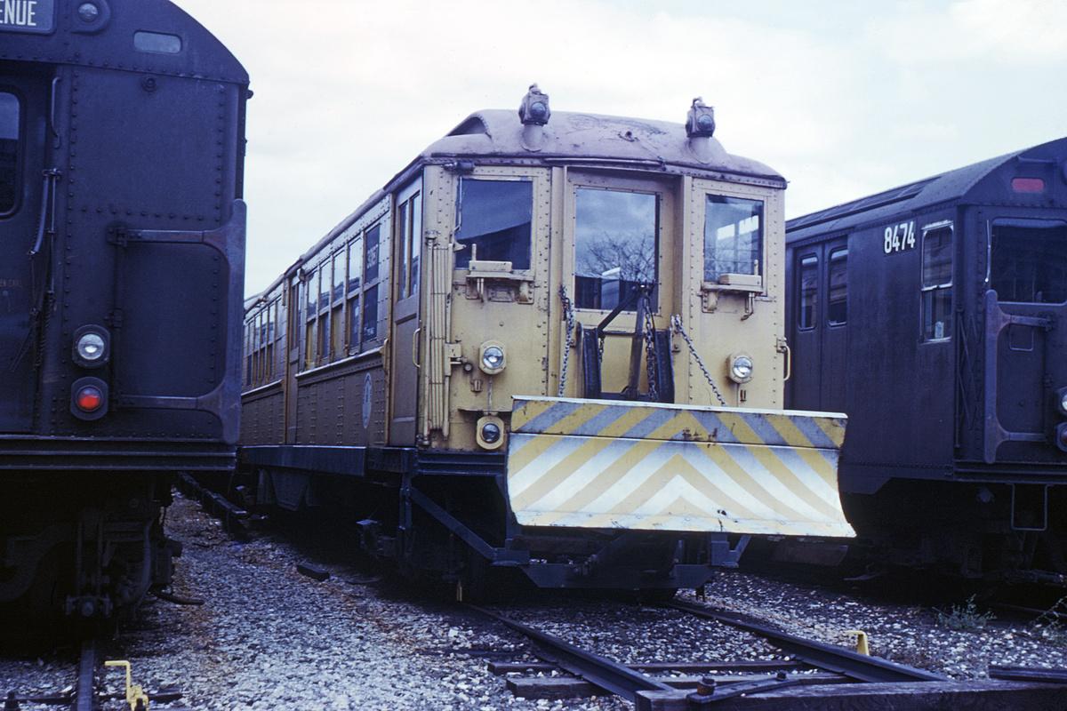 (333k, 1024x683)<br><b>Country:</b> United States<br><b>City:</b> New York<br><b>System:</b> New York City Transit<br><b>Location:</b> Coney Island Yard<br><b>Car:</b> Snow Plow (Low-V Converted) 30187 (ex-4642)<br><b>Photo by:</b> Steve Hoskins<br><b>Collection of:</b> David Pirmann<br><b>Date:</b> 9/1967<br><b>Notes:</b> Snowplow<br><b>Viewed (this week/total):</b> 0 / 4105