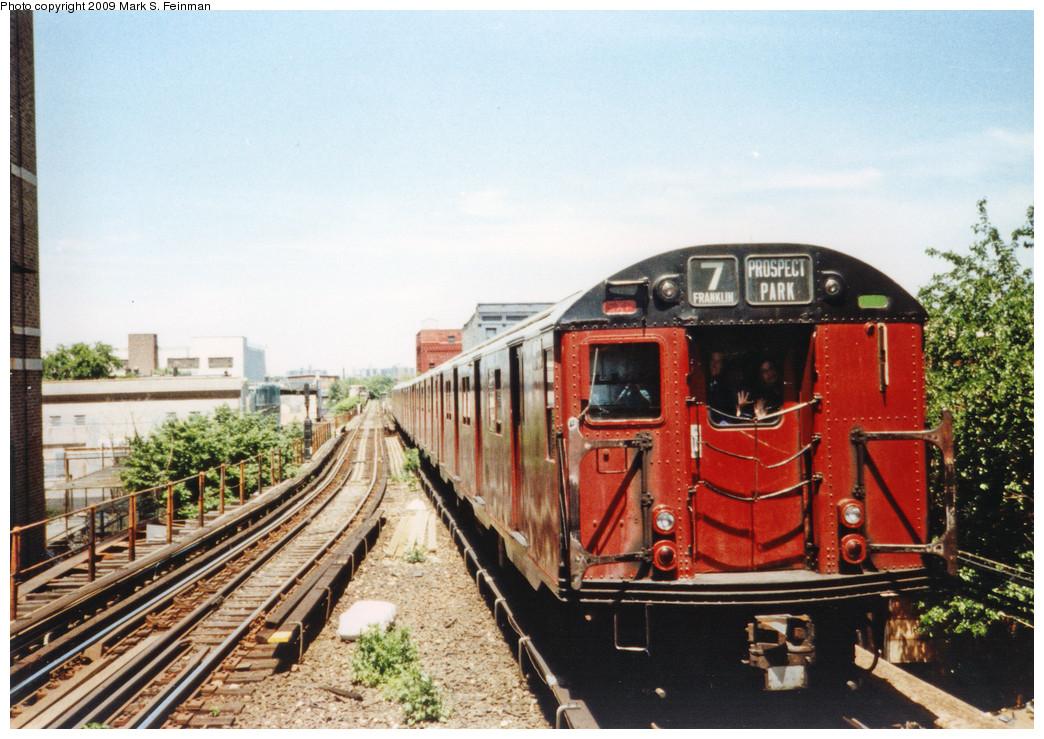 (284k, 1044x739)<br><b>Country:</b> United States<br><b>City:</b> New York<br><b>System:</b> New York City Transit<br><b>Line:</b> BMT Franklin<br><b>Location:</b> Park Place <br><b>Route:</b> Fan Trip<br><b>Car:</b> R-30 (St. Louis, 1961) 8408 <br><b>Photo by:</b> Mark S. Feinman<br><b>Date:</b> 5/30/1993<br><b>Viewed (this week/total):</b> 1 / 6114