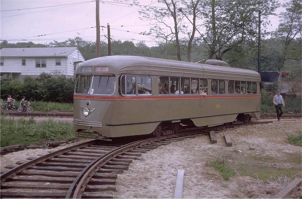 (274k, 1024x676)<br><b>Country:</b> United States<br><b>City:</b> East Haven/Branford, Ct.<br><b>System:</b> Shore Line Trolley Museum <br><b>Car:</b> Brooklyn & Queens Transit PCC (St. Louis Car, 1936)  1001 <br><b>Photo by:</b> Doug Grotjahn<br><b>Collection of:</b> Joe Testagrose<br><b>Date:</b> 5/23/1970<br><b>Viewed (this week/total):</b> 2 / 2506