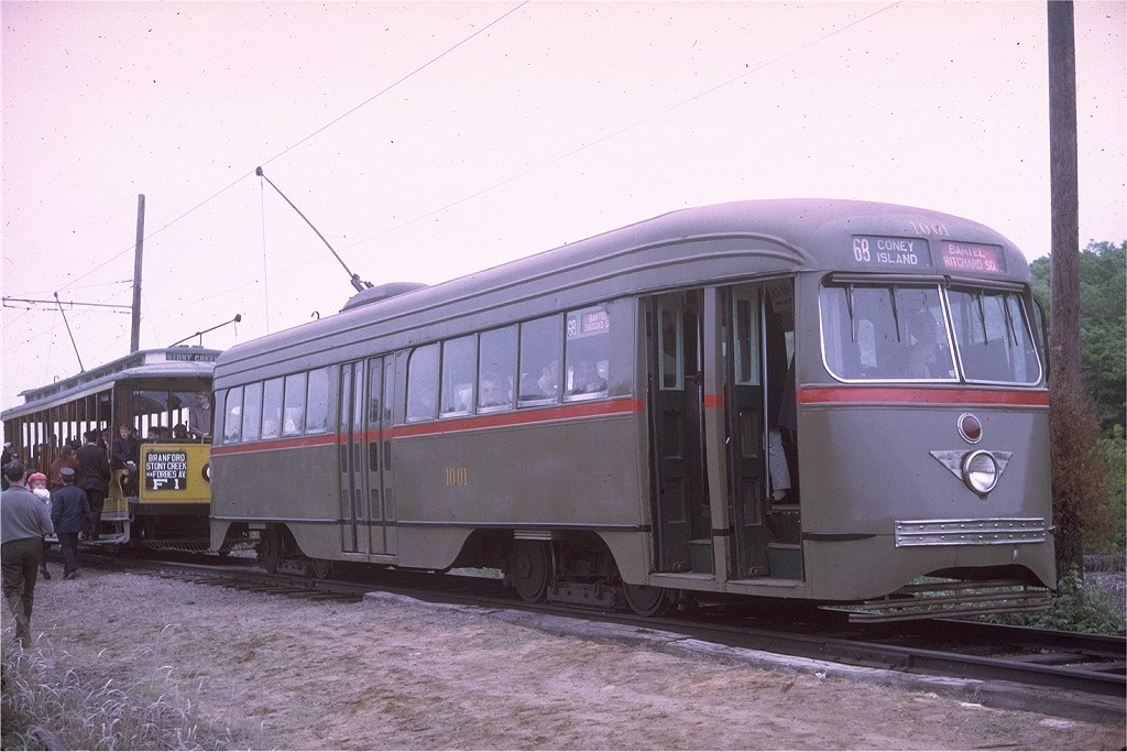 (188k, 1024x683)<br><b>Country:</b> United States<br><b>City:</b> East Haven/Branford, Ct.<br><b>System:</b> Shore Line Trolley Museum <br><b>Car:</b> Brooklyn & Queens Transit PCC (St. Louis Car, 1936)  1001 <br><b>Photo by:</b> Doug Grotjahn<br><b>Collection of:</b> Joe Testagrose<br><b>Date:</b> 5/24/1969<br><b>Viewed (this week/total):</b> 1 / 2331