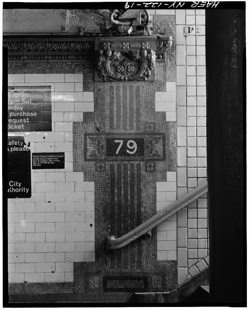 (136k, 821x1024)<br><b>Country:</b> United States<br><b>City:</b> New York<br><b>System:</b> New York City Transit<br><b>Line:</b> IRT West Side Line<br><b>Location:</b> 79th Street <br><b>Photo by:</b> David Sagarin/Historic American Engineering Record<br><b>Collection of:</b> Library of Congress, Prints and Photographs Division<br><b>Date:</b> 8/1978<br><b>Notes:</b> Mosaic tile plaster and faience trim.<br><b>Viewed (this week/total):</b> 2 / 4549