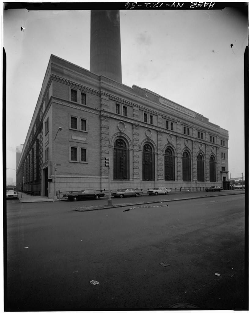 (70k, 818x1024)<br><b>Country:</b> United States<br><b>City:</b> New York<br><b>System:</b> New York City Transit<br><b>Location:</b> IRT Co. Main Power House<br><b>Photo by:</b> David Sagarin/Historic American Engineering Record<br><b>Collection of:</b> Library of Congress, Prints and Photographs Division<br><b>Date:</b> 8/1978<br><b>Notes:</b> 11th Avenue facade.<br><b>Viewed (this week/total):</b> 0 / 2022