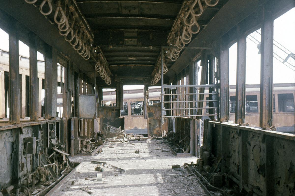 (226k, 1044x704)<br><b>Country:</b> United States<br><b>City:</b> New York<br><b>System:</b> New York City Transit<br><b>Location:</b> Scrapyard<br><b>Car:</b> Low-V 5072 <br><b>Collection of:</b> David Pirmann<br><b>Date:</b> 3/10/1963<br><b>Notes:</b> Scrap yard, interior of car<br><b>Viewed (this week/total):</b> 3 / 8330