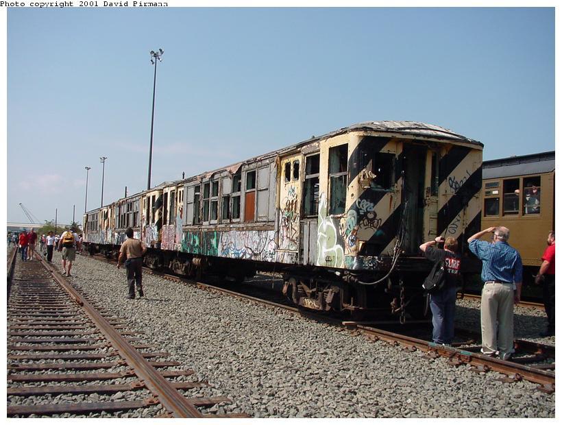 (100k, 820x620)<br><b>Country:</b> United States<br><b>City:</b> New York<br><b>System:</b> New York City Transit<br><b>Line:</b> South Brooklyn Railway<br><b>Location:</b> SBK Yard (2nd Ave at 38th St.) (SBK)<br><b>Car:</b> BMT QX  30617 <br><b>Photo by:</b> David Pirmann<br><b>Date:</b> 8/26/2001<br><b>Notes:</b> Q-Type cars in Bush Terminal (SBK) scrap yard.<br><b>Viewed (this week/total):</b> 6 / 10693