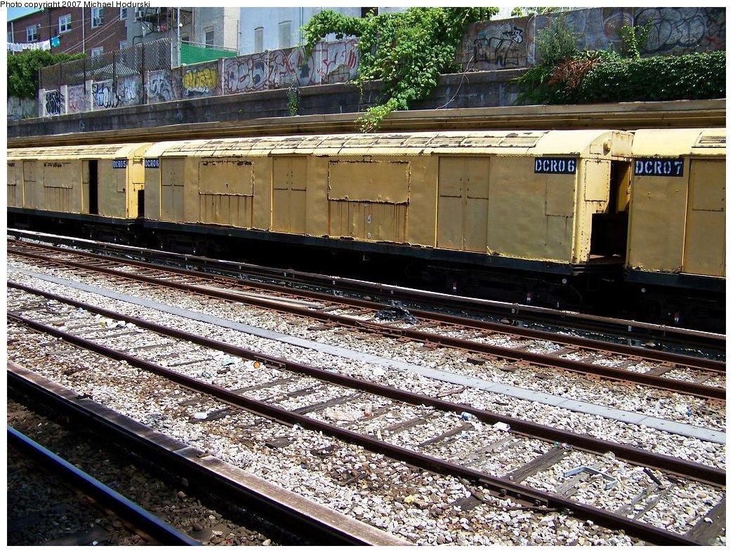 (333k, 1044x788)<br><b>Country:</b> United States<br><b>City:</b> New York<br><b>System:</b> New York City Transit<br><b>Line:</b> BMT Sea Beach Line<br><b>Location:</b> Bay Parkway (22nd Avenue) <br><b>Route:</b> Work Service<br><b>Car:</b> R-123 Continuous Welded Rail Handler (R17/R21/R22 Rebuilds) DCR06 <br><b>Photo by:</b> Michael Hodurski<br><b>Date:</b> 7/26/2007<br><b>Viewed (this week/total):</b> 2 / 2383