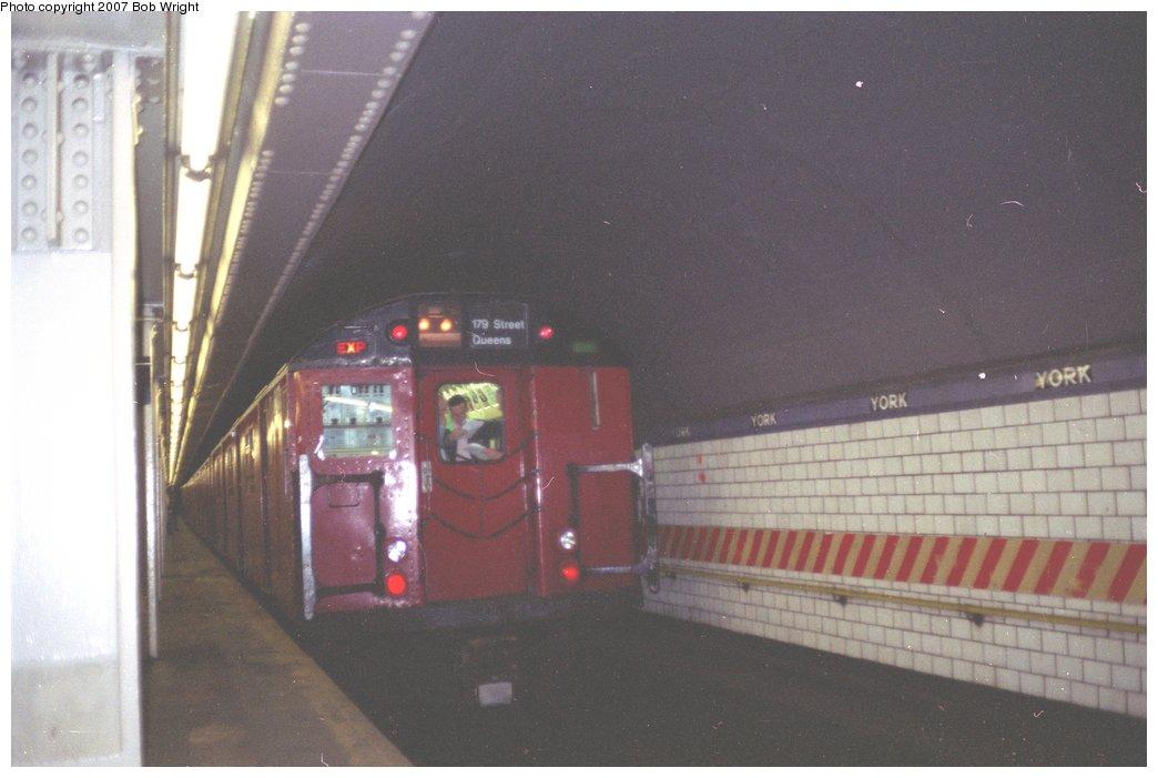 (104k, 1044x701)<br><b>Country:</b> United States<br><b>City:</b> New York<br><b>System:</b> New York City Transit<br><b>Line:</b> IND 6th Avenue Line<br><b>Location:</b> York Street <br><b>Route:</b> Fan Trip<br><b>Car:</b> R-30 (St. Louis, 1961) 8271 <br><b>Photo by:</b> Bob Wright<br><b>Date:</b> 11/10/1991<br><b>Viewed (this week/total):</b> 8 / 5099