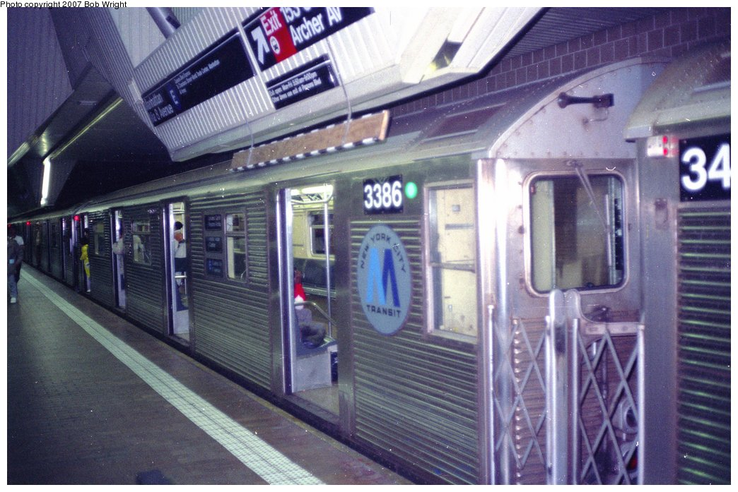 (161k, 1044x697)<br><b>Country:</b> United States<br><b>City:</b> New York<br><b>System:</b> New York City Transit<br><b>Line:</b> IND Queens Boulevard Line<br><b>Location:</b> Jamaica Center/Parsons-Archer <br><b>Route:</b> E<br><b>Car:</b> R-32 (Budd, 1964)  3386 <br><b>Photo by:</b> Bob Wright<br><b>Date:</b> 11/10/1991<br><b>Viewed (this week/total):</b> 2 / 5254
