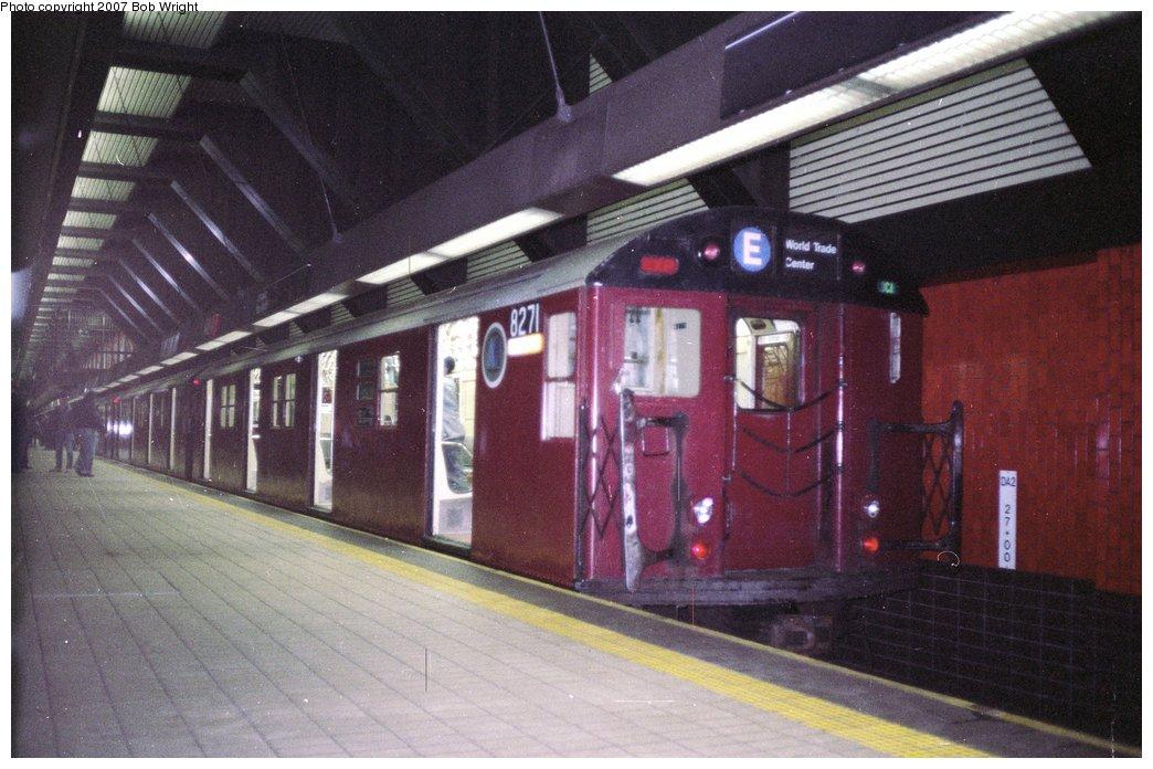 (149k, 1044x696)<br><b>Country:</b> United States<br><b>City:</b> New York<br><b>System:</b> New York City Transit<br><b>Line:</b> IND Queens Boulevard Line<br><b>Location:</b> Jamaica/Van Wyck <br><b>Route:</b> Fan Trip<br><b>Car:</b> R-30 (St. Louis, 1961) 8271 <br><b>Photo by:</b> Bob Wright<br><b>Date:</b> 11/10/1991<br><b>Viewed (this week/total):</b> 8 / 5011