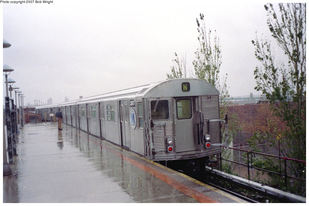 (147k, 1044x698)<br><b>Country:</b> United States<br><b>City:</b> New York<br><b>System:</b> New York City Transit<br><b>Location:</b> Coney Island/Stillwell Avenue<br><b>Route:</b> N<br><b>Car:</b> R-32 (Budd, 1964)  3907 <br><b>Photo by:</b> Bob Wright<br><b>Date:</b> 11/10/1991<br><b>Viewed (this week/total):</b> 2 / 4329
