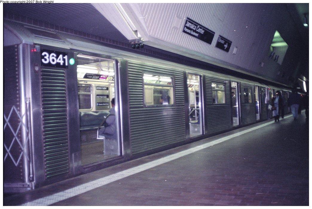 (150k, 1044x699)<br><b>Country:</b> United States<br><b>City:</b> New York<br><b>System:</b> New York City Transit<br><b>Line:</b> IND Queens Boulevard Line<br><b>Location:</b> Jamaica Center/Parsons-Archer <br><b>Route:</b> E<br><b>Car:</b> R-32 (Budd, 1964)  3641 <br><b>Photo by:</b> Bob Wright<br><b>Date:</b> 11/10/1991<br><b>Viewed (this week/total):</b> 0 / 3535