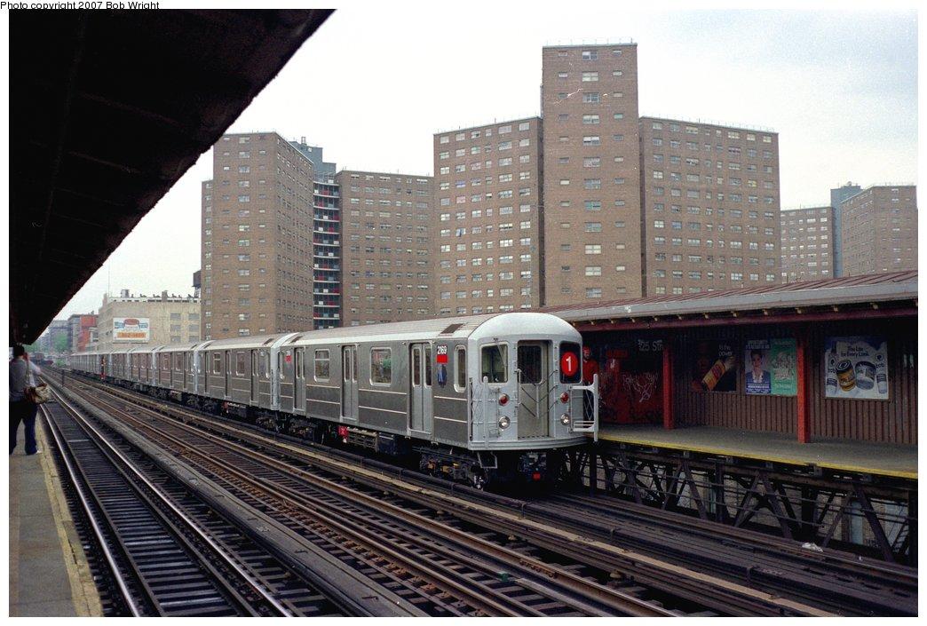 (156k, 1044x705)<br><b>Country:</b> United States<br><b>City:</b> New York<br><b>System:</b> New York City Transit<br><b>Line:</b> IRT West Side Line<br><b>Location:</b> 125th Street<br><b>Route:</b> 1<br><b>Car:</b> R-62A (Bombardier, 1984-1987) 2169 <br><b>Photo by:</b> Bob Wright<br><b>Date:</b> 5/24/1987<br><b>Viewed (this week/total):</b> 5 / 3684