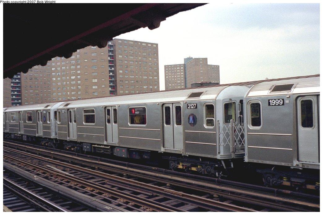 (138k, 1044x698)<br><b>Country:</b> United States<br><b>City:</b> New York<br><b>System:</b> New York City Transit<br><b>Line:</b> IRT West Side Line<br><b>Location:</b> 125th Street <br><b>Route:</b> 1<br><b>Car:</b> R-62A (Bombardier, 1984-1987)  2127 <br><b>Photo by:</b> Bob Wright<br><b>Date:</b> 5/24/1987<br><b>Viewed (this week/total):</b> 0 / 2630