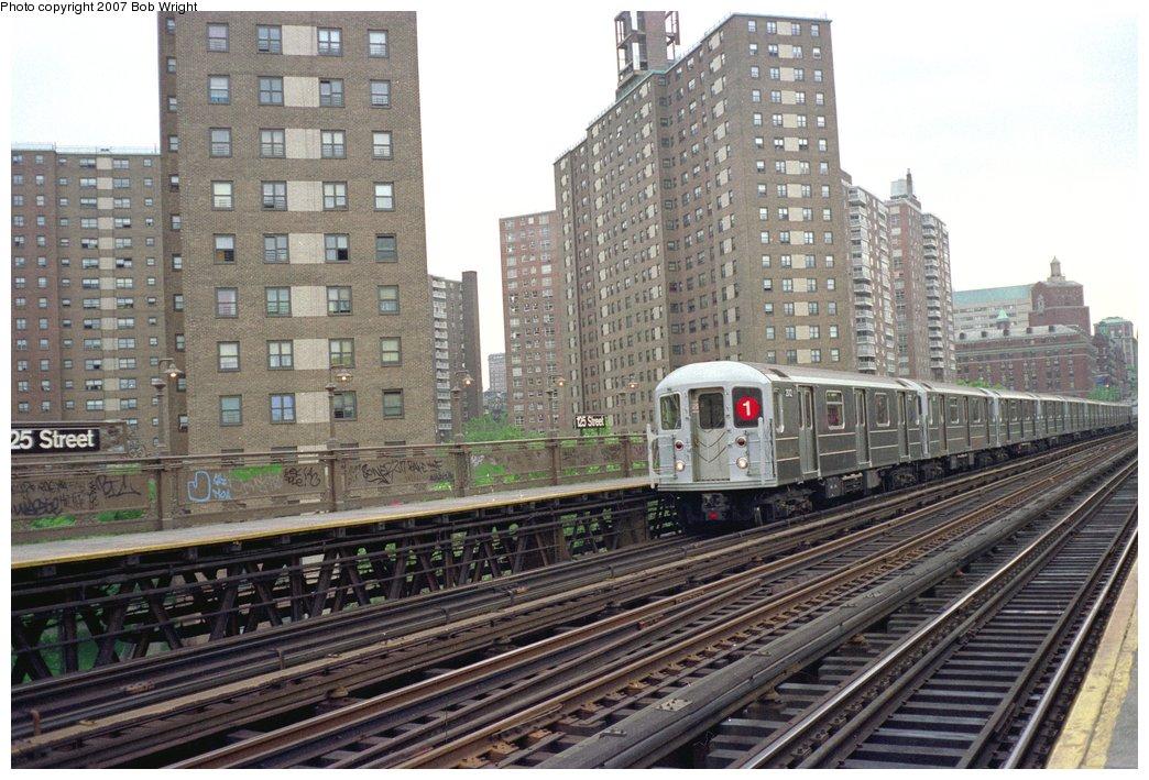 (181k, 1044x709)<br><b>Country:</b> United States<br><b>City:</b> New York<br><b>System:</b> New York City Transit<br><b>Line:</b> IRT West Side Line<br><b>Location:</b> 125th Street <br><b>Route:</b> 1<br><b>Car:</b> R-62A (Bombardier, 1984-1987)  2012 <br><b>Photo by:</b> Bob Wright<br><b>Date:</b> 5/24/1987<br><b>Viewed (this week/total):</b> 5 / 2635