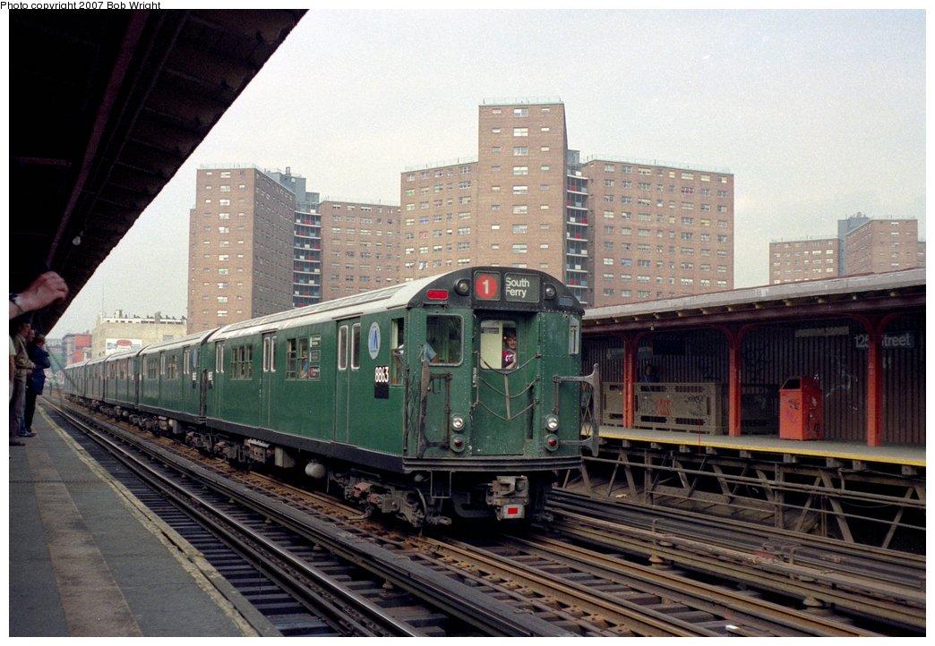 (159k, 1044x722)<br><b>Country:</b> United States<br><b>City:</b> New York<br><b>System:</b> New York City Transit<br><b>Line:</b> IRT West Side Line<br><b>Location:</b> 125th Street <br><b>Route:</b> Fan Trip<br><b>Car:</b> R-33 Main Line (St. Louis, 1962-63) 8863 <br><b>Photo by:</b> Bob Wright<br><b>Date:</b> 5/24/1987<br><b>Viewed (this week/total):</b> 0 / 2906