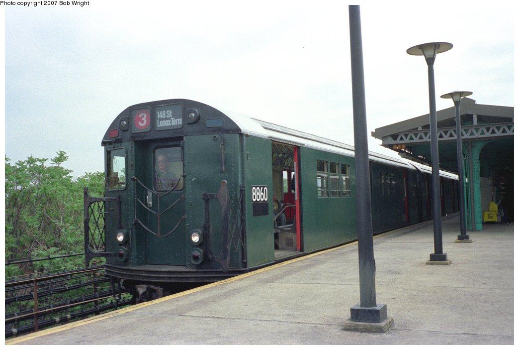 (121k, 1044x703)<br><b>Country:</b> United States<br><b>City:</b> New York<br><b>System:</b> New York City Transit<br><b>Line:</b> IRT Brooklyn Line<br><b>Location:</b> New Lots Avenue<br><b>Route:</b> Fan Trip<br><b>Car:</b> R-33 Main Line (St. Louis, 1962-63) 8860 <br><b>Photo by:</b> Bob Wright<br><b>Date:</b> 5/24/1987<br><b>Viewed (this week/total):</b> 3 / 5334