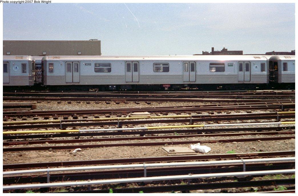 (164k, 1044x686)<br><b>Country:</b> United States<br><b>City:</b> New York<br><b>System:</b> New York City Transit<br><b>Location:</b> Coney Island Yard<br><b>Car:</b> R-68 (Westinghouse-Amrail, 1986-1988)  2623 <br><b>Photo by:</b> Bob Wright<br><b>Date:</b> 5/30/1993<br><b>Viewed (this week/total):</b> 0 / 2685