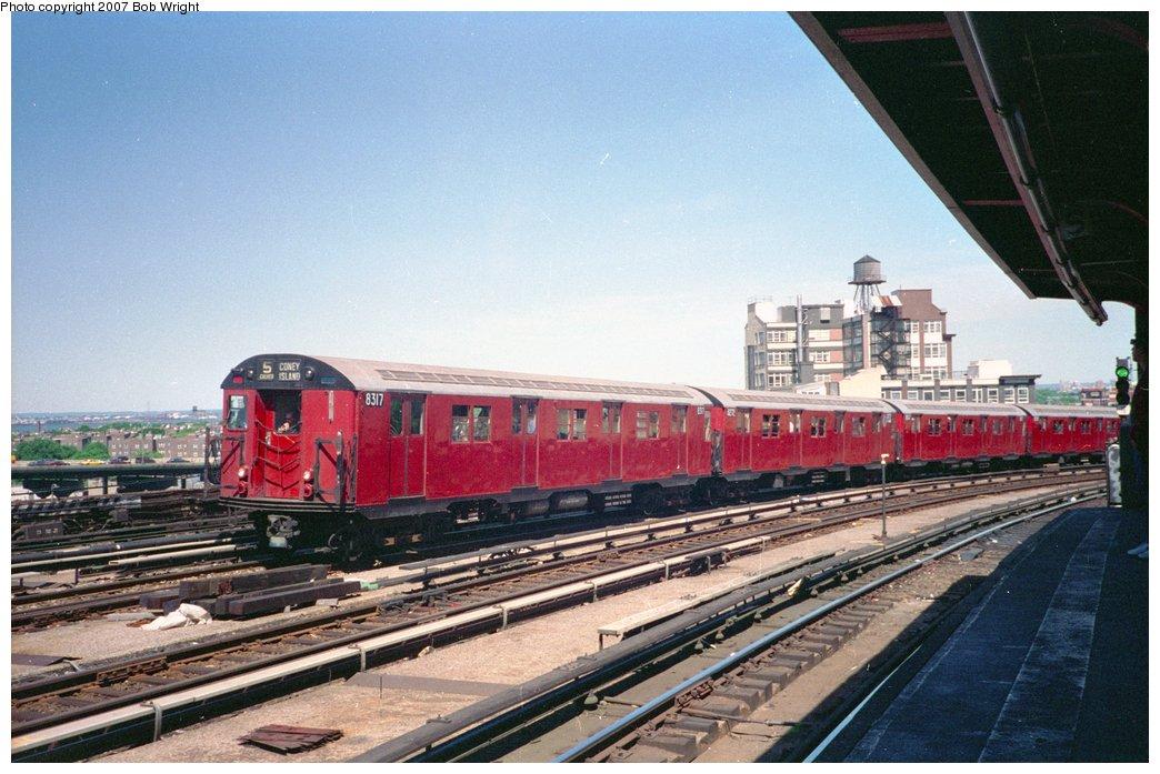 (158k, 1044x697)<br><b>Country:</b> United States<br><b>City:</b> New York<br><b>System:</b> New York City Transit<br><b>Line:</b> IND Crosstown Line<br><b>Location:</b> Smith/9th Street <br><b>Route:</b> Fan Trip<br><b>Car:</b> R-30 (St. Louis, 1961) 8317 <br><b>Photo by:</b> Bob Wright<br><b>Date:</b> 5/30/1993<br><b>Viewed (this week/total):</b> 1 / 2874