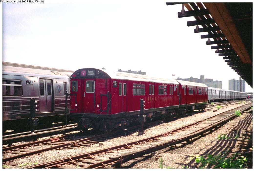 (156k, 1044x701)<br><b>Country:</b> United States<br><b>City:</b> New York<br><b>System:</b> New York City Transit<br><b>Location:</b> Coney Island Yard<br><b>Car:</b> R-36 World's Fair (St. Louis, 1963-64) 9351 <br><b>Photo by:</b> Bob Wright<br><b>Date:</b> 5/30/1993<br><b>Viewed (this week/total):</b> 2 / 3242