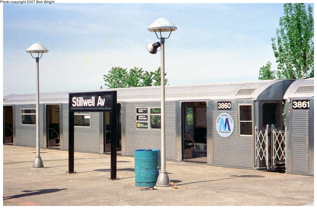 (160k, 1044x687)<br><b>Country:</b> United States<br><b>City:</b> New York<br><b>System:</b> New York City Transit<br><b>Location:</b> Coney Island/Stillwell Avenue<br><b>Route:</b> N<br><b>Car:</b> R-32 (Budd, 1964)  3860 <br><b>Photo by:</b> Bob Wright<br><b>Date:</b> 5/30/1993<br><b>Viewed (this week/total):</b> 6 / 5007