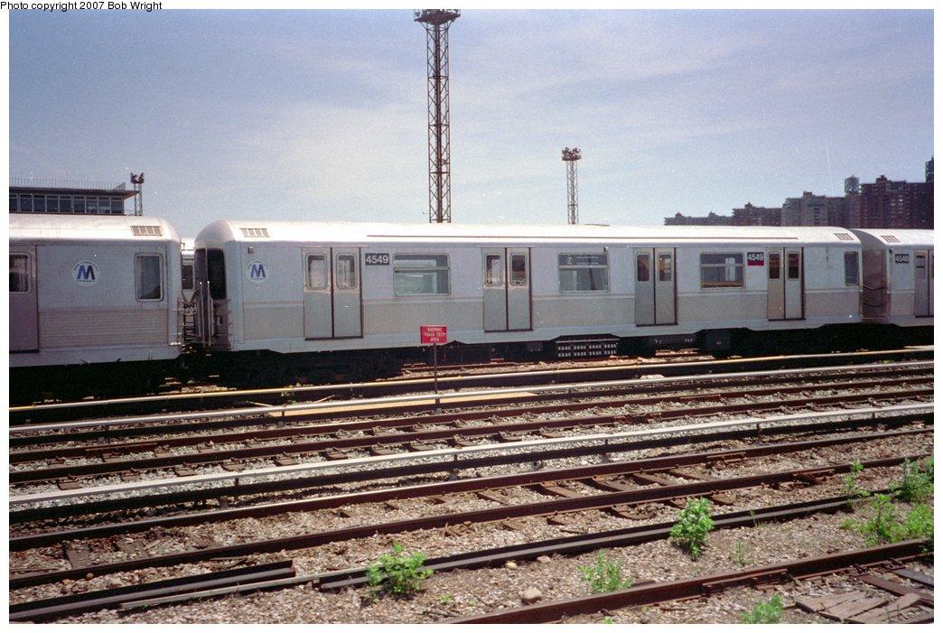 (179k, 1044x701)<br><b>Country:</b> United States<br><b>City:</b> New York<br><b>System:</b> New York City Transit<br><b>Location:</b> Coney Island Yard<br><b>Car:</b> R-40M (St. Louis, 1969)  4549 <br><b>Photo by:</b> Bob Wright<br><b>Date:</b> 5/30/1993<br><b>Viewed (this week/total):</b> 4 / 2359