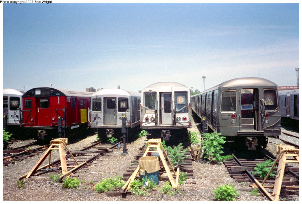 (173k, 1044x704)<br><b>Country:</b> United States<br><b>City:</b> New York<br><b>System:</b> New York City Transit<br><b>Location:</b> Coney Island Yard<br><b>Photo by:</b> Bob Wright<br><b>Date:</b> 5/30/1993<br><b>Viewed (this week/total):</b> 2 / 1525