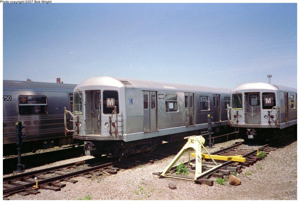 (149k, 1044x706)<br><b>Country:</b> United States<br><b>City:</b> New York<br><b>System:</b> New York City Transit<br><b>Location:</b> Coney Island Yard<br><b>Car:</b> R-42 (St. Louis, 1969-1970)  4616 <br><b>Photo by:</b> Bob Wright<br><b>Date:</b> 5/30/1993<br><b>Viewed (this week/total):</b> 12 / 2518