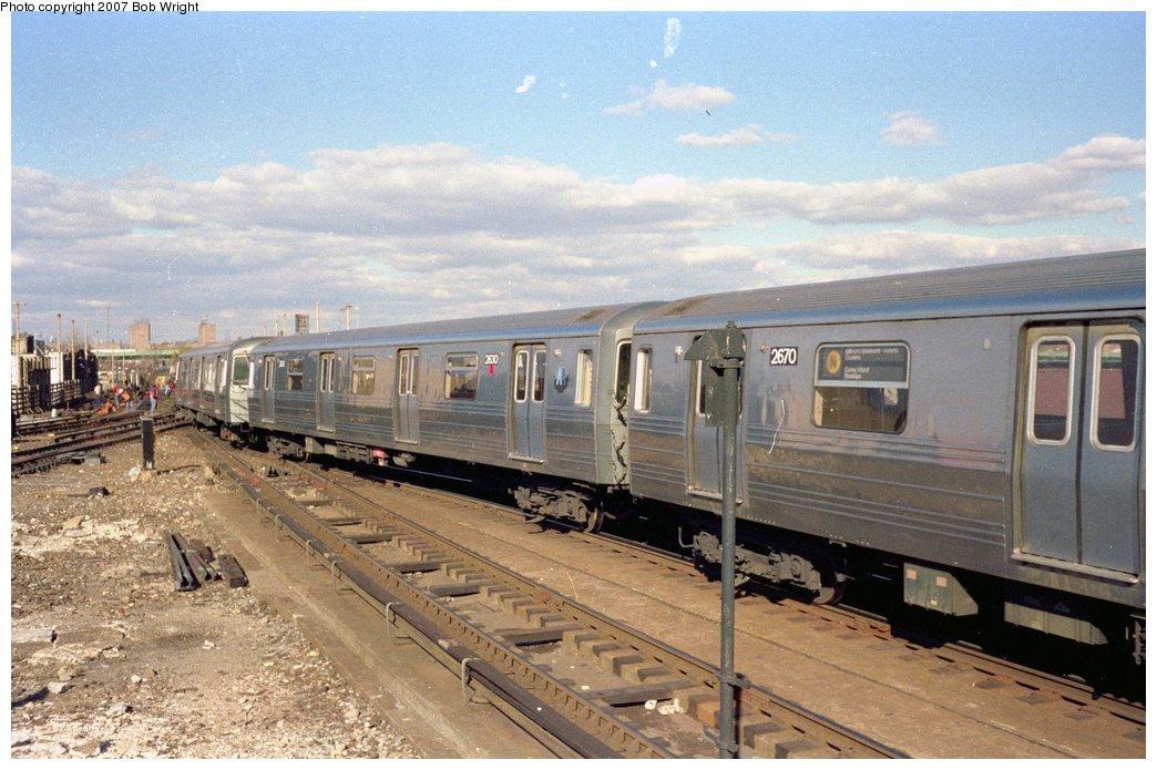 (156k, 1044x695)<br><b>Country:</b> United States<br><b>City:</b> New York<br><b>System:</b> New York City Transit<br><b>Location:</b> Coney Island/Stillwell Avenue<br><b>Route:</b> N<br><b>Car:</b> R-68 (Westinghouse-Amrail, 1986-1988)  2630 <br><b>Photo by:</b> Bob Wright<br><b>Date:</b> 11/1988<br><b>Viewed (this week/total):</b> 0 / 3107