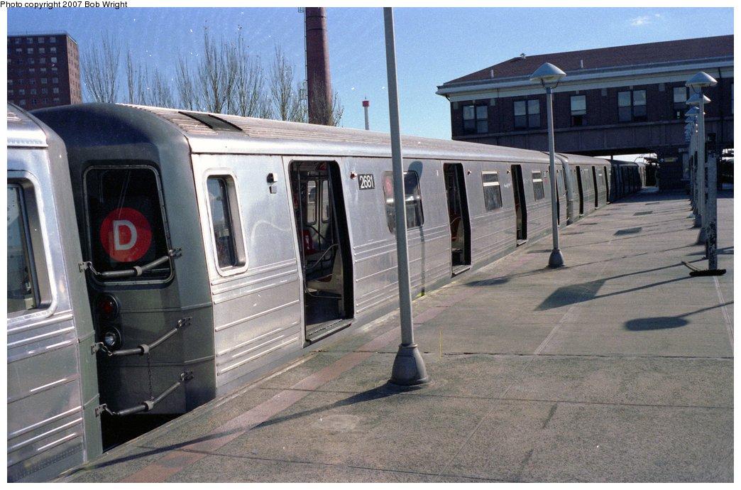(156k, 1044x690)<br><b>Country:</b> United States<br><b>City:</b> New York<br><b>System:</b> New York City Transit<br><b>Location:</b> Coney Island/Stillwell Avenue<br><b>Route:</b> D<br><b>Car:</b> R-68 (Westinghouse-Amrail, 1986-1988)  2681 <br><b>Photo by:</b> Bob Wright<br><b>Date:</b> 11/1988<br><b>Viewed (this week/total):</b> 7 / 3875