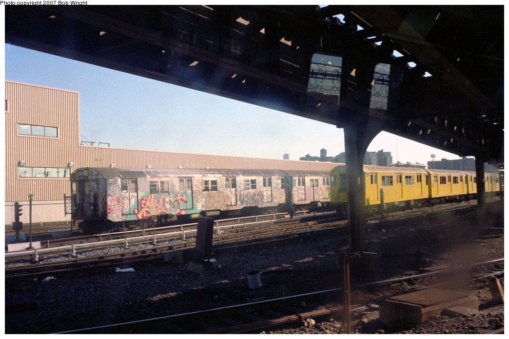 (146k, 1044x695)<br><b>Country:</b> United States<br><b>City:</b> New York<br><b>System:</b> New York City Transit<br><b>Location:</b> Coney Island Yard<br><b>Car:</b> R-30 (St. Louis, 1961) 8553 <br><b>Photo by:</b> Bob Wright<br><b>Date:</b> 11/1988<br><b>Viewed (this week/total):</b> 3 / 3503