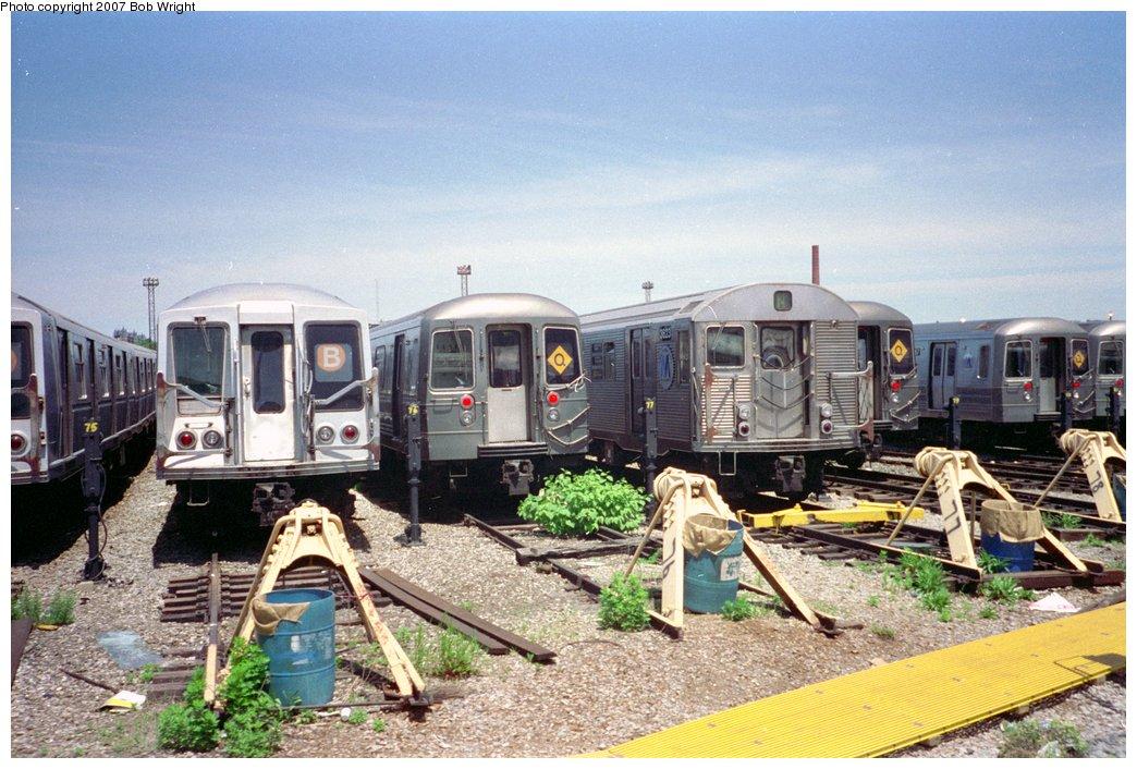 (181k, 1044x706)<br><b>Country:</b> United States<br><b>City:</b> New York<br><b>System:</b> New York City Transit<br><b>Location:</b> Coney Island Yard<br><b>Photo by:</b> Bob Wright<br><b>Date:</b> 5/30/1993<br><b>Viewed (this week/total):</b> 6 / 1566