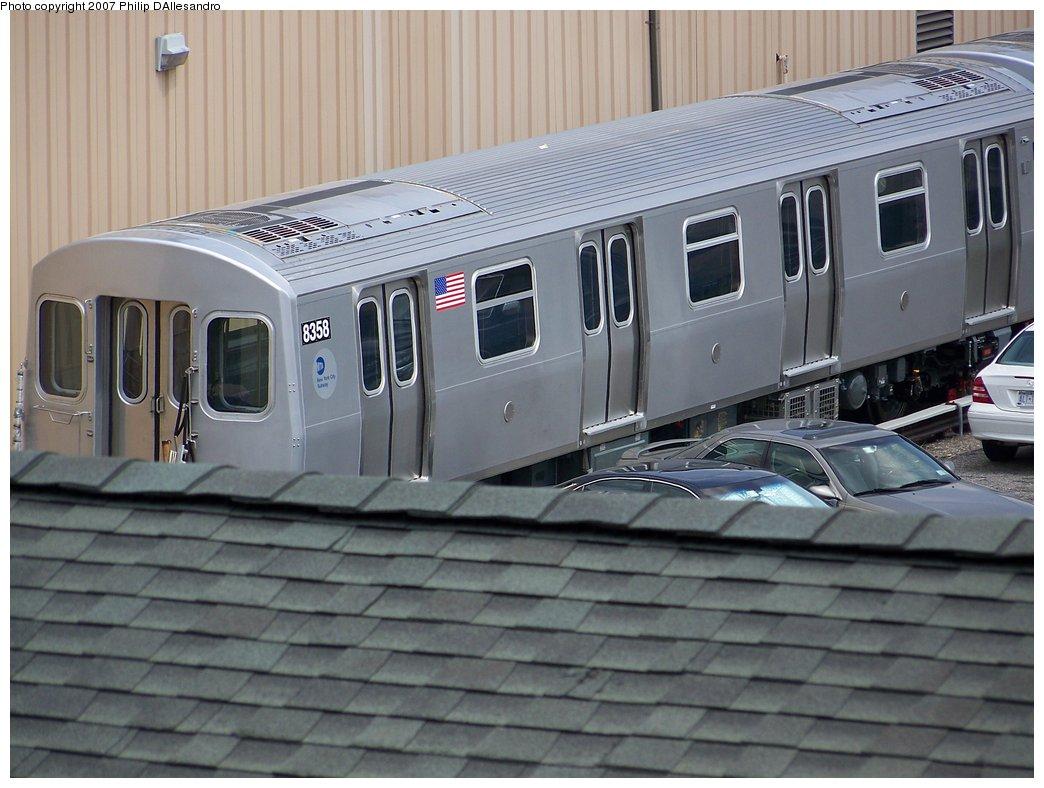 (168k, 1044x788)<br><b>Country:</b> United States<br><b>City:</b> New York<br><b>System:</b> New York City Transit<br><b>Location:</b> 207th Street Yard<br><b>Car:</b> R-160A-1 (Alstom, 2005-2008, 4 car sets)  8358 <br><b>Photo by:</b> Philip D'Allesandro<br><b>Date:</b> 7/27/2007<br><b>Viewed (this week/total):</b> 0 / 2233