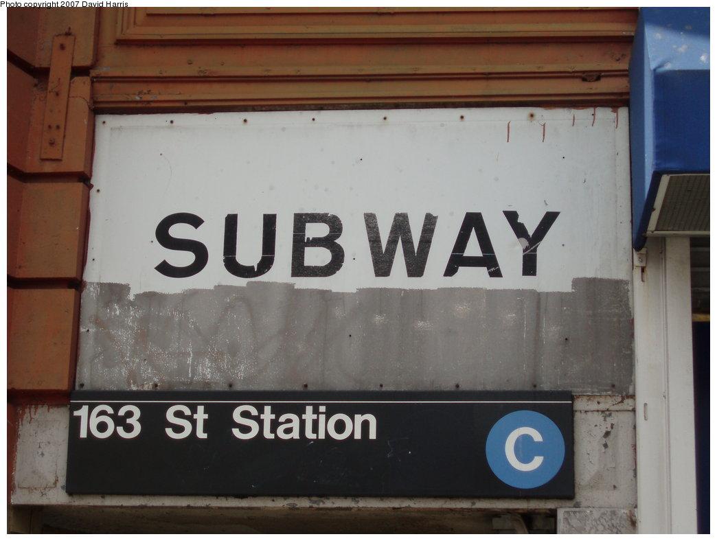 (134k, 1044x788)<br><b>Country:</b> United States<br><b>City:</b> New York<br><b>System:</b> New York City Transit<br><b>Line:</b> IND 8th Avenue Line<br><b>Location:</b> 163rd Street/Amsterdam Avenue <br><b>Photo by:</b> David Harris<br><b>Date:</b> 7/27/2007<br><b>Notes:</b> Station entrance.<br><b>Viewed (this week/total):</b> 2 / 2904