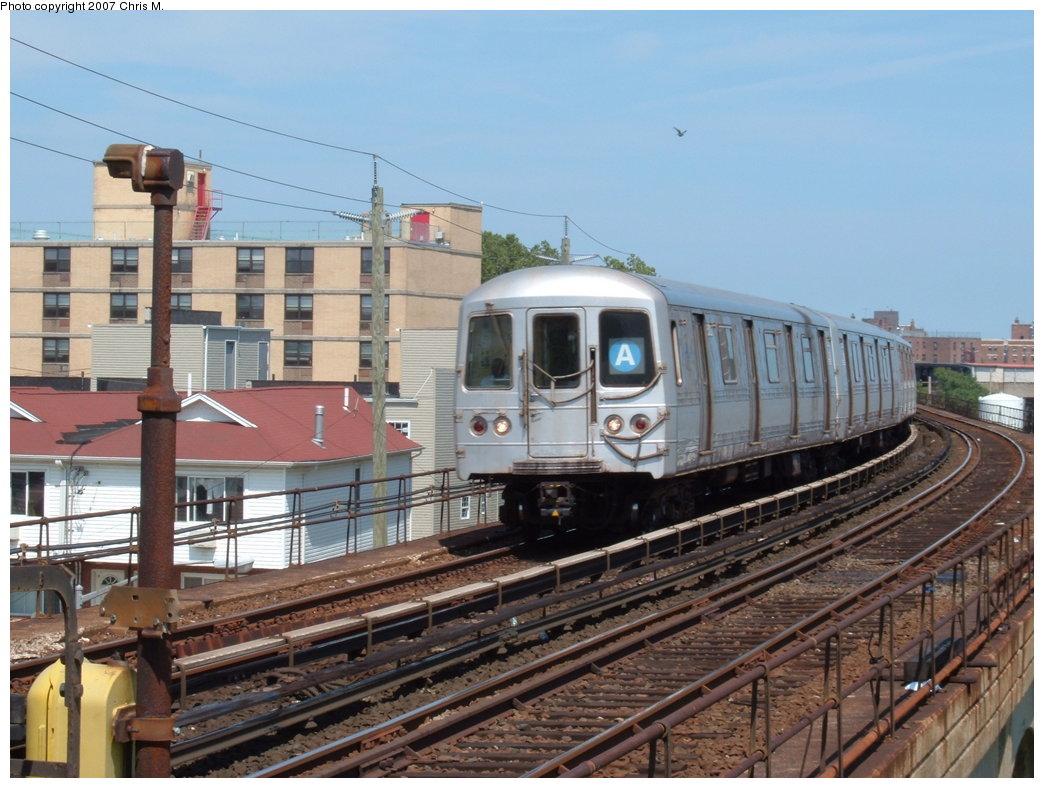 (186k, 1044x788)<br><b>Country:</b> United States<br><b>City:</b> New York<br><b>System:</b> New York City Transit<br><b>Line:</b> IND Rockaway<br><b>Location:</b> Beach 67th Street/Gaston Avenue <br><b>Route:</b> A<br><b>Car:</b> R-44 (St. Louis, 1971-73)  <br><b>Photo by:</b> Chris M.<br><b>Date:</b> 7/27/2007<br><b>Viewed (this week/total):</b> 2 / 1780