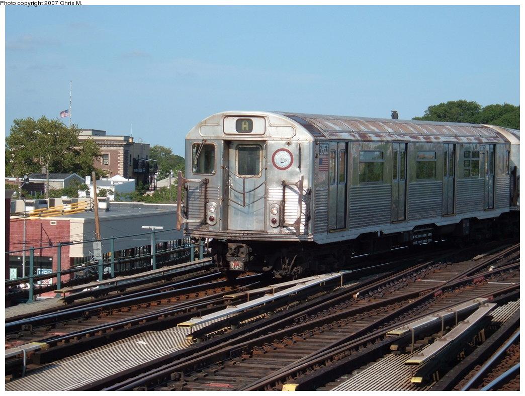 (203k, 1044x788)<br><b>Country:</b> United States<br><b>City:</b> New York<br><b>System:</b> New York City Transit<br><b>Line:</b> IND Fulton Street Line<br><b>Location:</b> Rockaway Boulevard <br><b>Route:</b> A<br><b>Car:</b> R-38 (St. Louis, 1966-1967)  3953 <br><b>Photo by:</b> Chris M.<br><b>Date:</b> 7/27/2007<br><b>Viewed (this week/total):</b> 0 / 1743