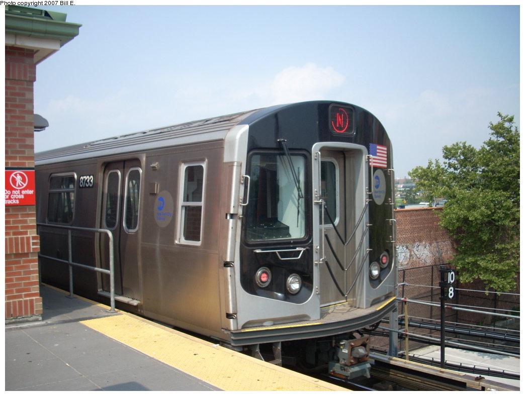 (179k, 1044x788)<br><b>Country:</b> United States<br><b>City:</b> New York<br><b>System:</b> New York City Transit<br><b>Location:</b> Coney Island/Stillwell Avenue<br><b>Route:</b> N<br><b>Car:</b> R-160B (Kawasaki, 2005-2008)  8733 <br><b>Photo by:</b> Bill E.<br><b>Date:</b> 7/28/2007<br><b>Viewed (this week/total):</b> 0 / 1814