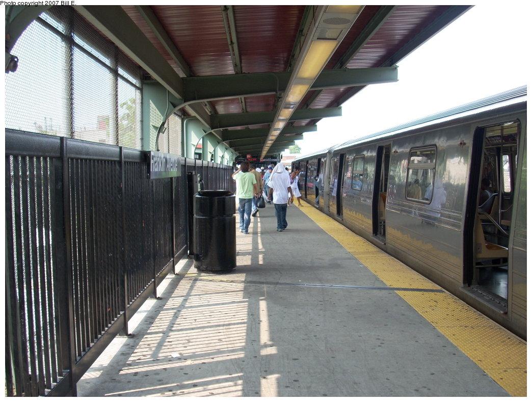 (227k, 1044x788)<br><b>Country:</b> United States<br><b>City:</b> New York<br><b>System:</b> New York City Transit<br><b>Line:</b> BMT Franklin<br><b>Location:</b> Franklin Avenue <br><b>Route:</b> Franklin Shuttle<br><b>Car:</b> R-68 (Westinghouse-Amrail, 1986-1988)   <br><b>Photo by:</b> Bill E.<br><b>Date:</b> 7/28/2007<br><b>Viewed (this week/total):</b> 0 / 3288
