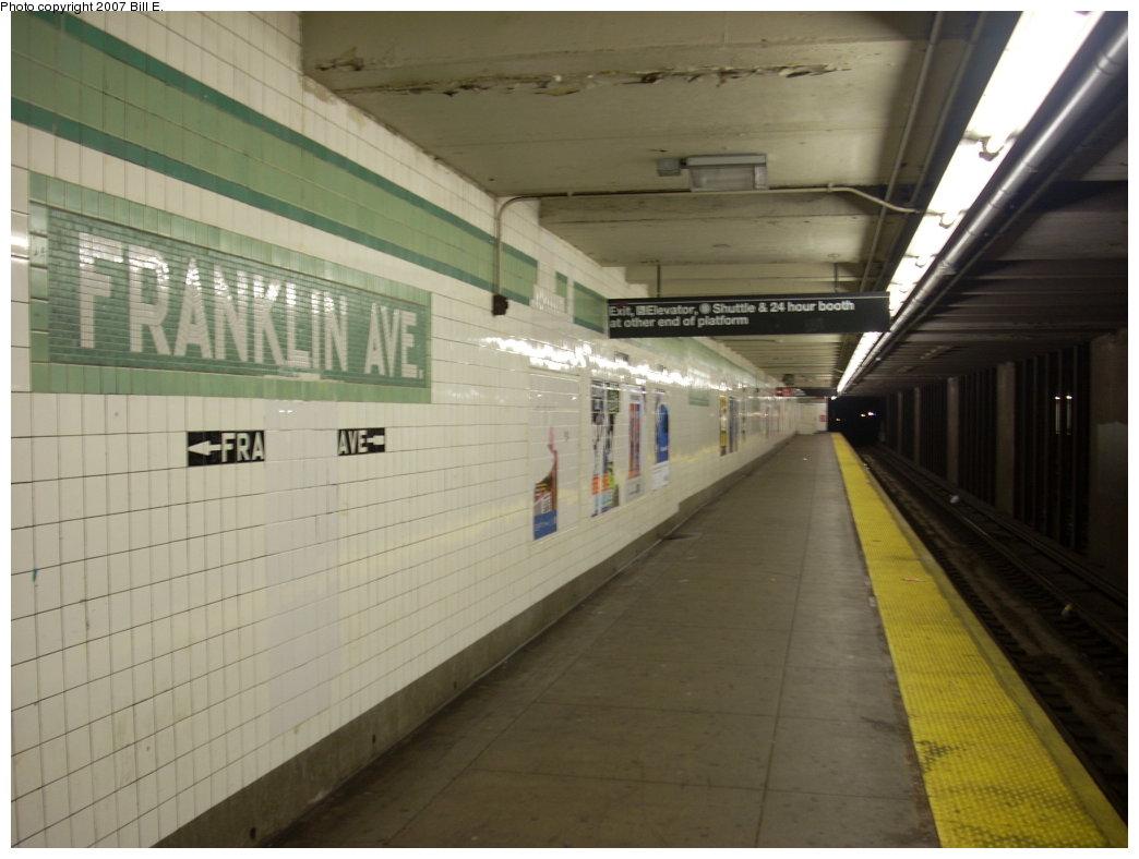 (160k, 1044x788)<br><b>Country:</b> United States<br><b>City:</b> New York<br><b>System:</b> New York City Transit<br><b>Line:</b> IND Fulton Street Line<br><b>Location:</b> Franklin Avenue <br><b>Photo by:</b> Bill E.<br><b>Date:</b> 7/28/2007<br><b>Viewed (this week/total):</b> 2 / 2260